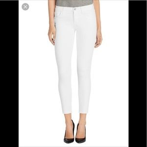 J Brand 835 Mid-Rise Cropped Skinny Jeans in Blanc